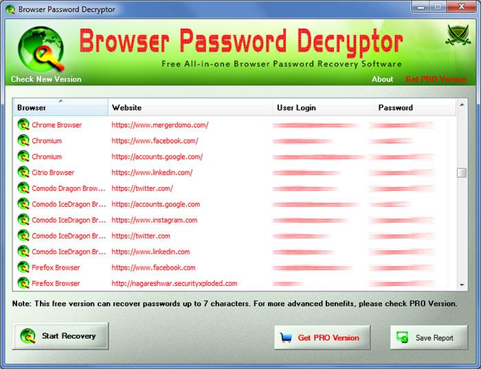 BrowserPasswordDecryptor showing recovered passwords