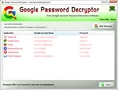 GooglePasswordDecryptor showing recovered passwords