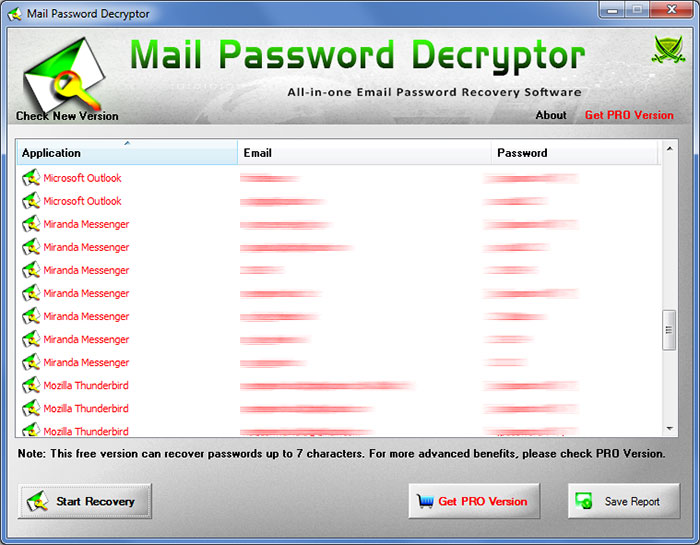 Mail Password Decryptor 2021 Free All In One Tool To Recover Lost Or Forgotten Email Password From Outlook Opera Mail Gmail Thebat Thunderbird Etc