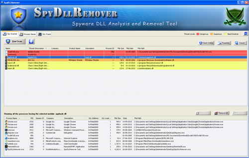 SpyDllRemover Scanner Screen