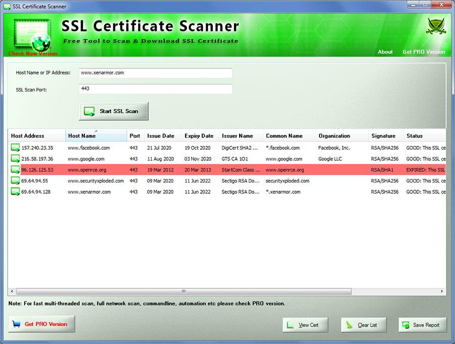 SSL Certificate Scanner : FREE SSL Scanner Software | www